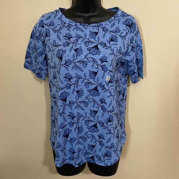 NWT Loft Blue Floral Ballet Neck Tee Size Small
